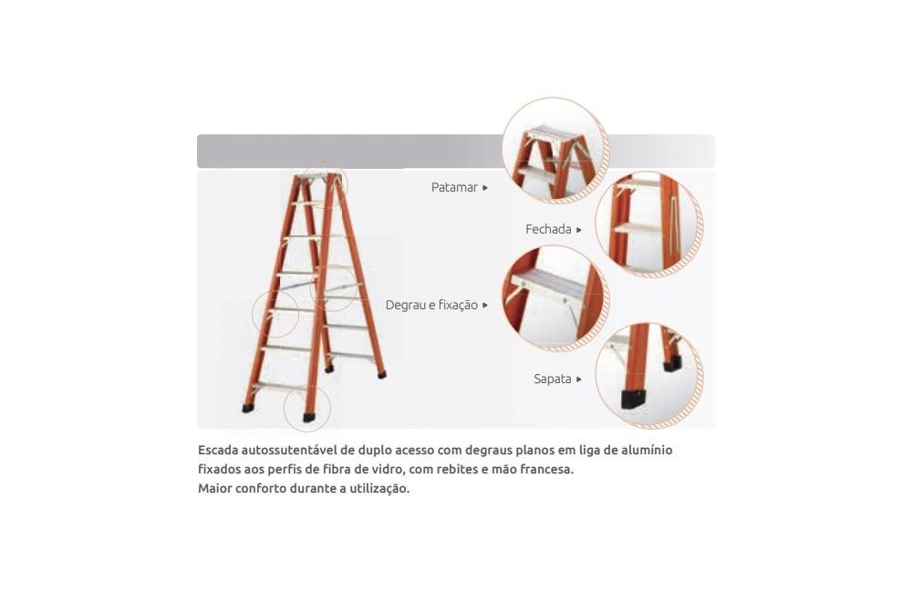 Escada de Fibra de Vidro de Abrir tipo Tesoura de 11 Degraus e 3,20 metros TAF-11 - Sintese