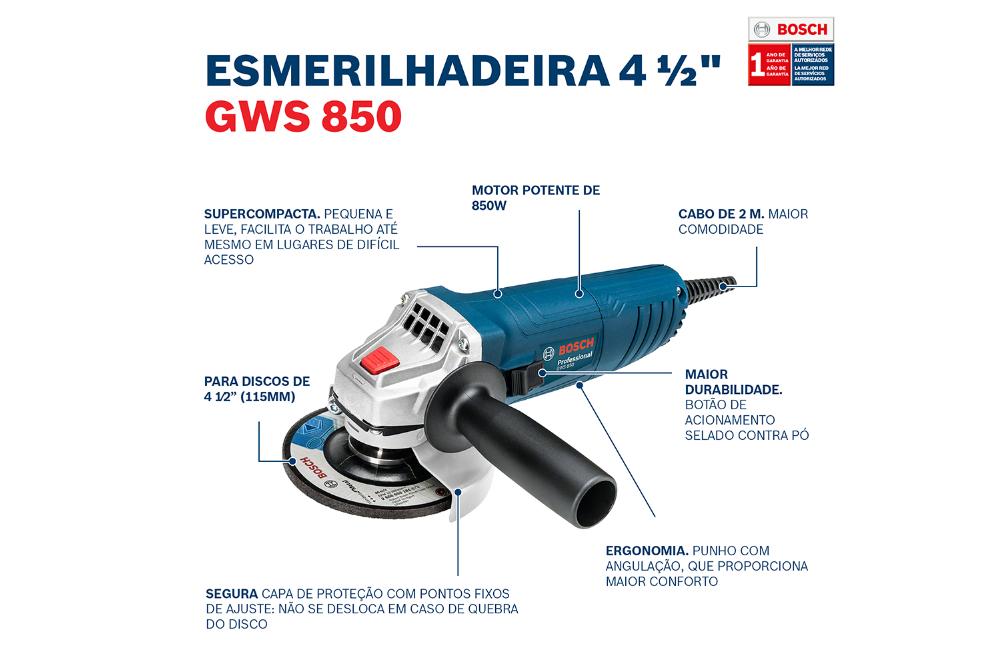 """Esmerilhadeira Angular com 3 Discos de 4.1/2"""" 850W 220V GWS850 - BOSCH"""