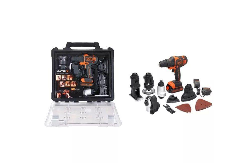 Furadeira com Cabeçotes Intercambiáveis Multifunção 20V Matrix BDCDM6KITC-BR - Black Decker