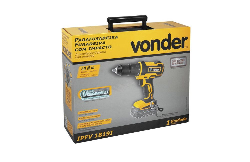 """Furadeira e Parafusadeira de 1/2"""" 18V Sem Carregador e Bateria IPFV-1819I - Vonder"""