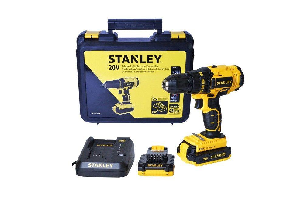 """Furadeira e Parafusadeira de 1/2"""" a Bateria de 20V Lítio 220V SCH20C2K - Stanley"""