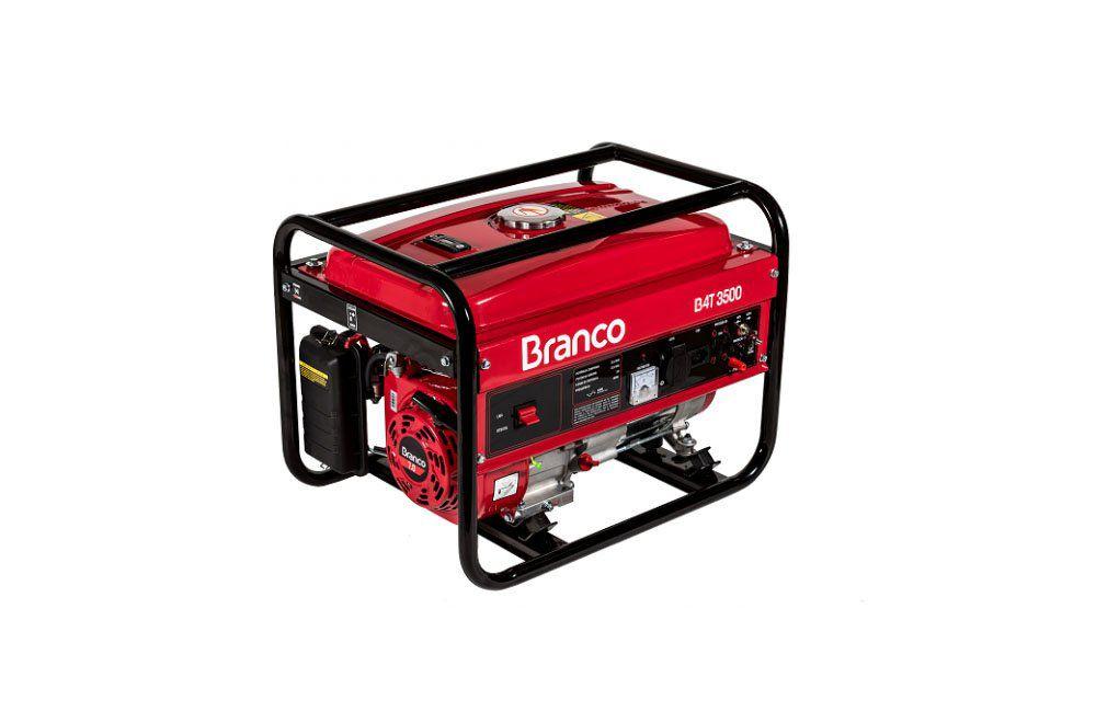 Gerador à Gasolina de 3,5KVA Bivolt Partida Manual B4T-3500 - Branco