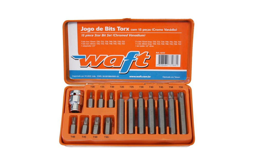 """Jogo de Bits Torx 1/2"""" T20-T55 CR.V com 15 Peças 6233 - WAFT"""