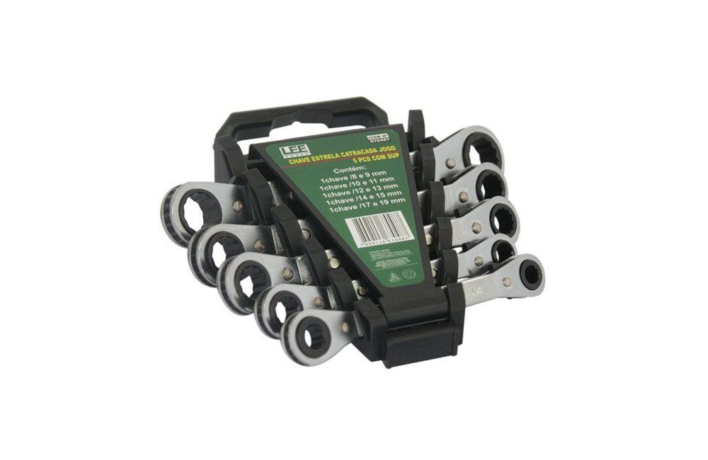 Jogo de Chave Estria com Catraca de 8 a 19 mm com 5 peças 670487 - Lee Tools