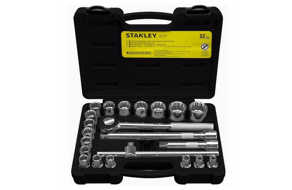 "Jogo de Soquetes Estriados de 8 a 32 mm encaixe de 1/2"" 22 peças STMT81242-840 - Stanley"
