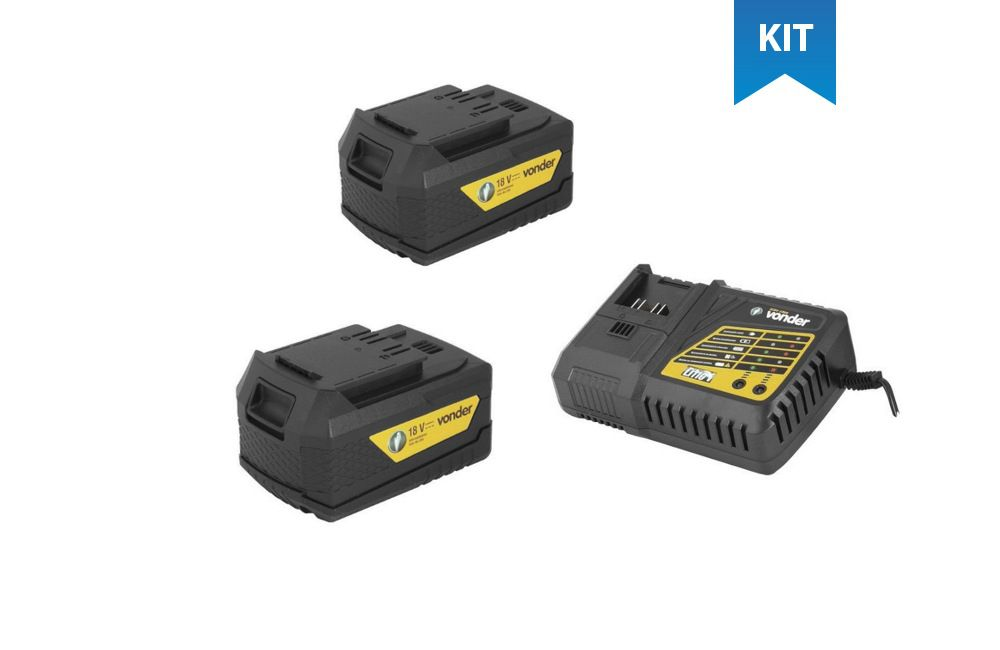 Kit 2 Baterias Intercambiáveis de Litíum 18V 4AH IBV-1804 + Carregador para Baterias 18V Carga Rápida Bivolt ICBV-1806 - Vonder
