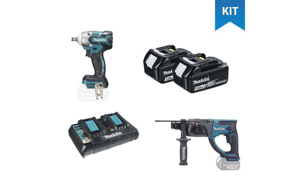Kit Chave de Impacto 18V DTW285Z + Martelete Rotativo/Rompedor 18V DHR202Z + 2 Baterias + Carregador - Makita