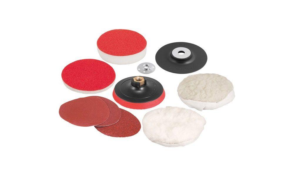 """Kit de Discos 4.1/2"""" Para Polimento Lixamento Fixa Fácil Rosca M14 9 Peças - VONDER"""