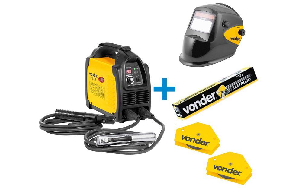 Kit Inversora de Solda 130A Biv + Máscara Automática + 2 Esquadros Magnéticos + 5Kg Eletrodo - Vonder
