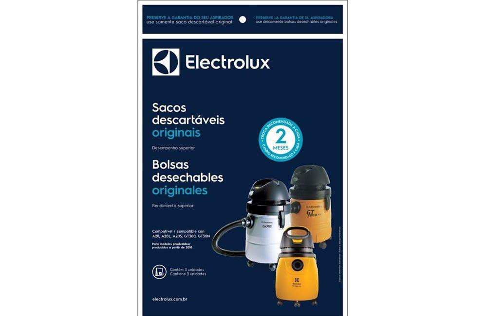 Kit Saco de Papel com 3 Sacos Para Modelo A20 e GT3000 - Electrolux
