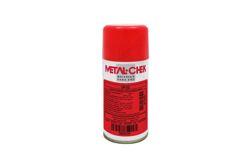 Liquido Vermelho Penetrante de 230 gramas VP-30 - Metal Chek