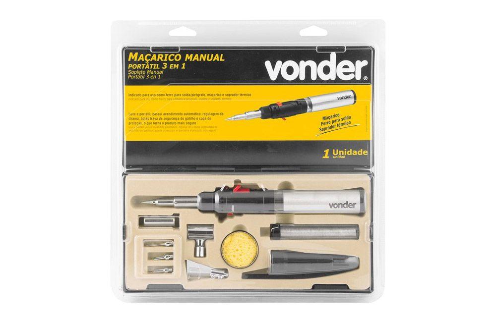 Maçarico e ferro de solda portátil manual a gás - 3 em 1 - VONDER