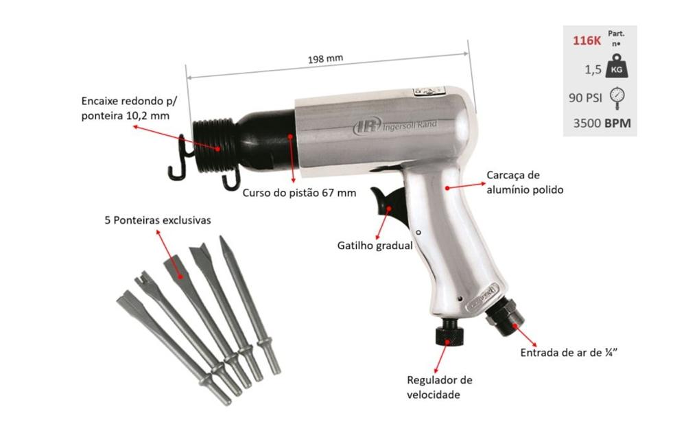 Martelete Pneumático com Kit de Cinzeis 116K - INGERSOLL
