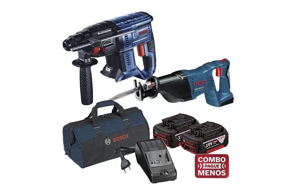 Martelo Perfurador Rompedor 18V GBH 180-LI + Serra Sabre 18V GSA 18V-LI + kit baterias e bolsa - Bosch