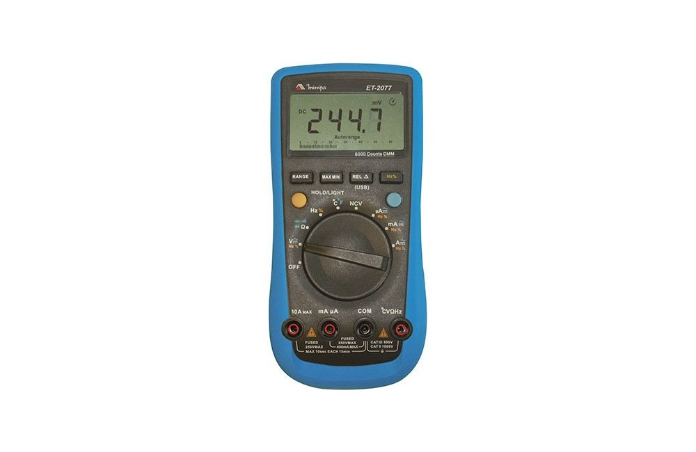 Multímetro Digital 10A AC/DC/ NCV com USB ET-2077 - Minipa