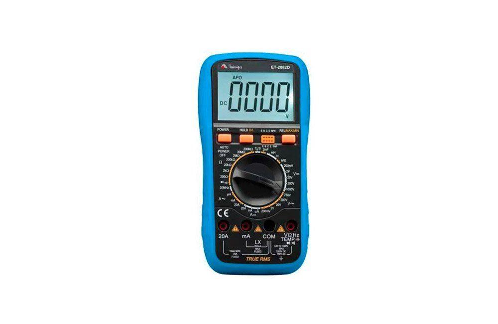Multímetro Digital 20A AC/DC/TRMS com Temperatura ET-2082D - Minipa