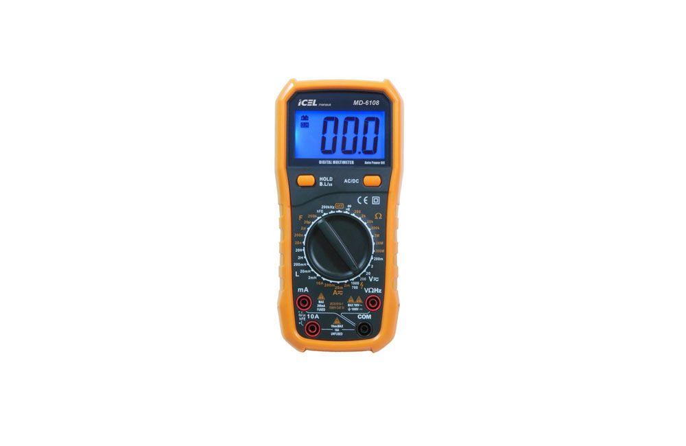 Multímetro Digital AC/DC 10A/1000V MD-6108 - Icel
