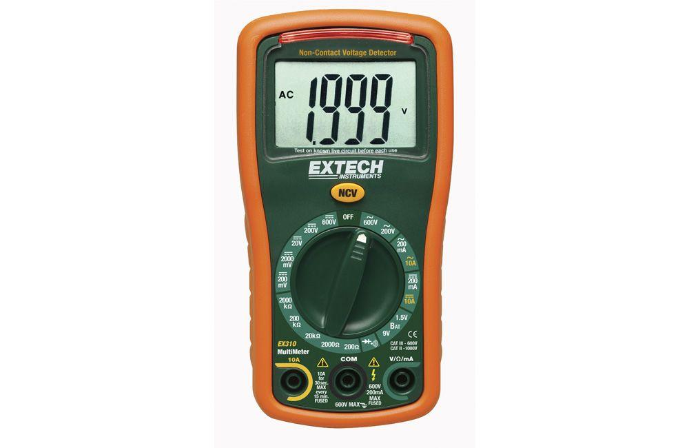 Multímetro Digital com Detector de Tensão AC/DC 600V EX-310 Extech