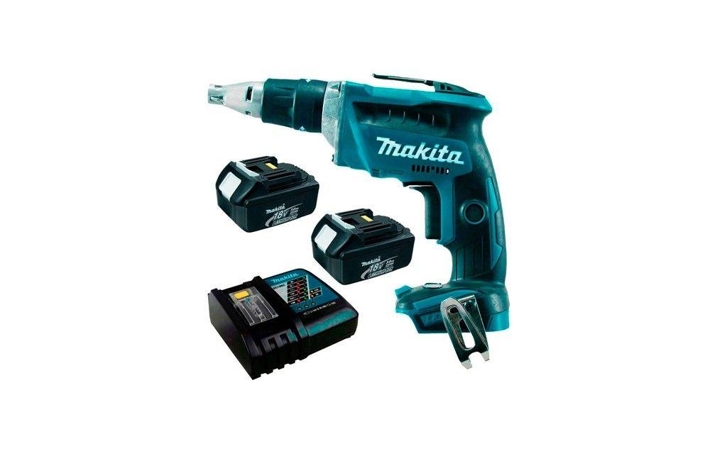 """Parafusadeira de 1/4"""" para Gesso à Bateria 18V com 2 Baterias e Carregador Bivolt DFS452RFE - Makita"""