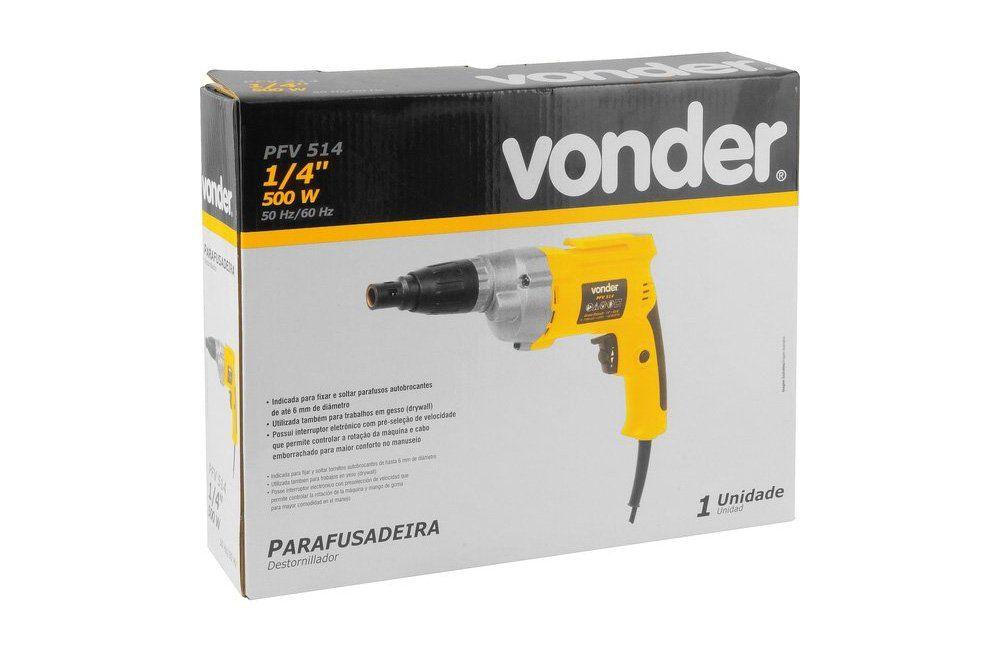 """Parafusadeira Elétrica de 1/4"""" 500W PFV-514 110V - Vonder"""