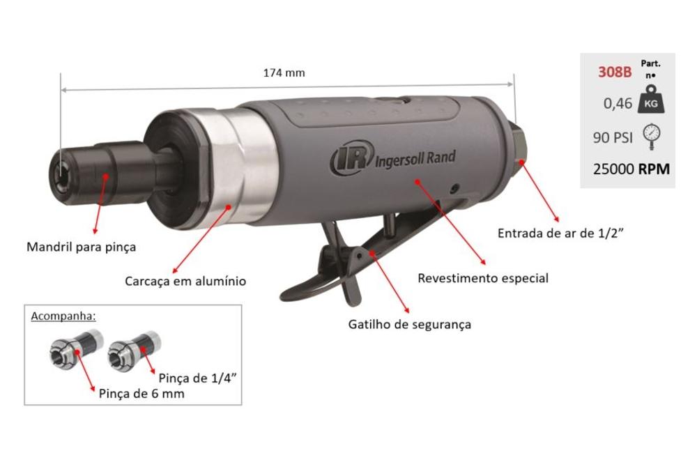 Retifica Reta Pneumática Encaixe 1/4'' 25000RPM 308B - INGERSOLL