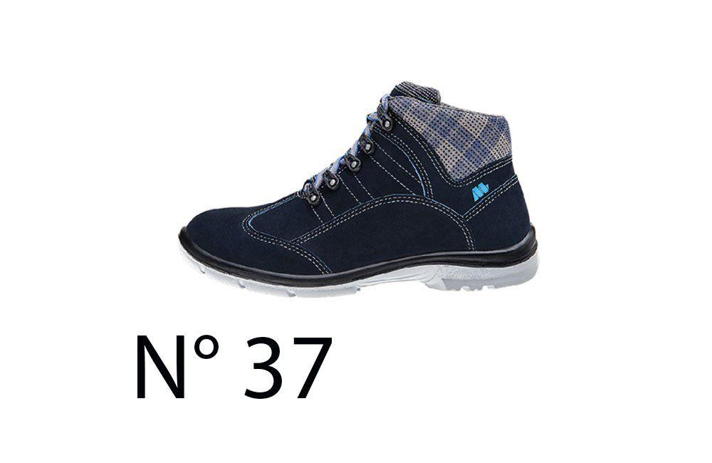 Sapato de Segurança Feminino Azul N37 50F62 Cano Alto - Marluvas