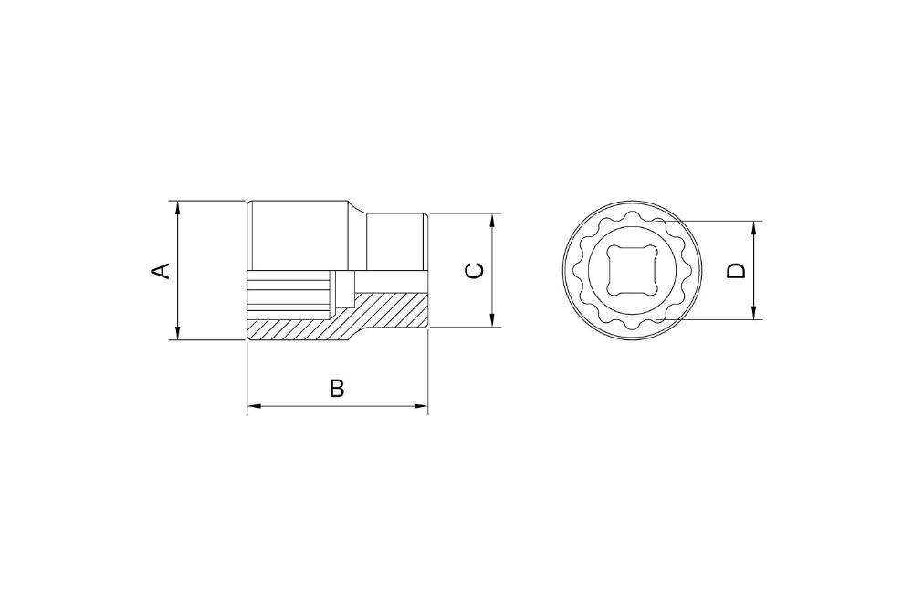 """Soquete Estriado em Aço Cromo Vanádio 55 mm - Encaixe 3/4"""" 44853/155 - TRAMONTINA PRO"""