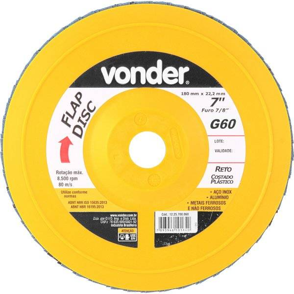 """Disco de lixa flap disco reto 7"""" grão 60 costado plástico Vonder"""