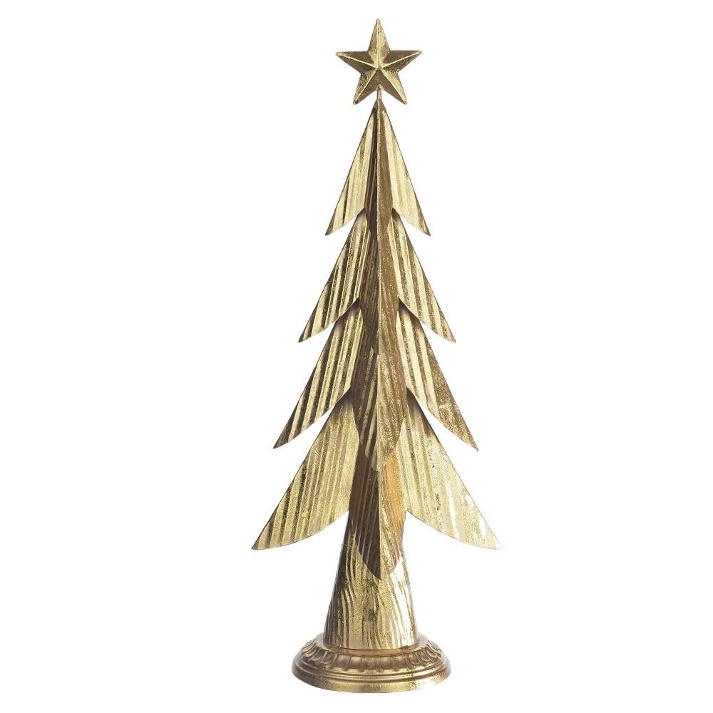 Enfeite Natalino Decorativo Árvore de Natal em Metal Dourado 20 x 47 cm D'Rossi