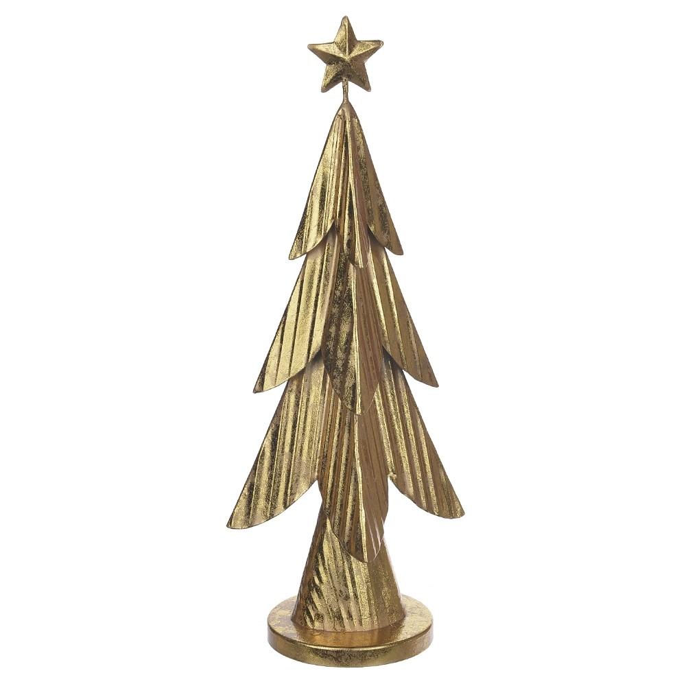 Enfeite Natalino Decorativo Árvore de Natal em Metal Dourado 31x12x9 cm D'Rossi