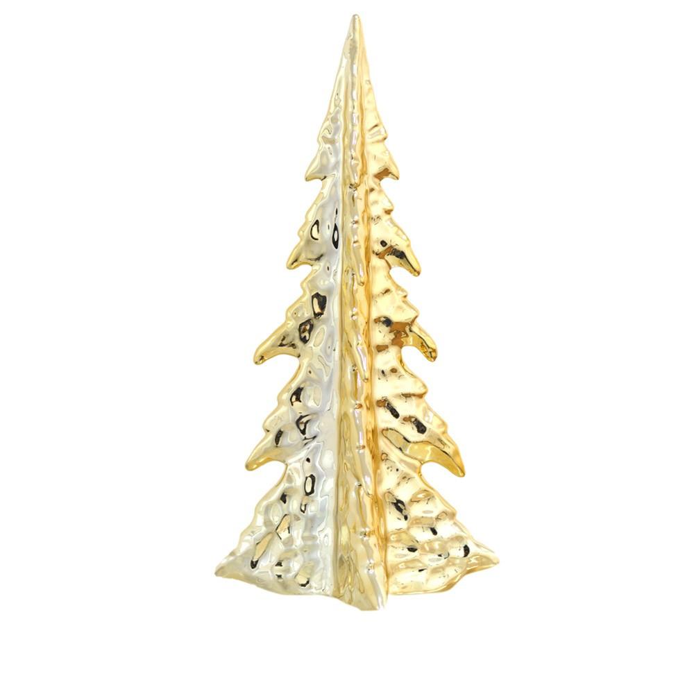 Enfeite Árvore Natal Porcelana Dourado 33X12X12 cm D'Rossi