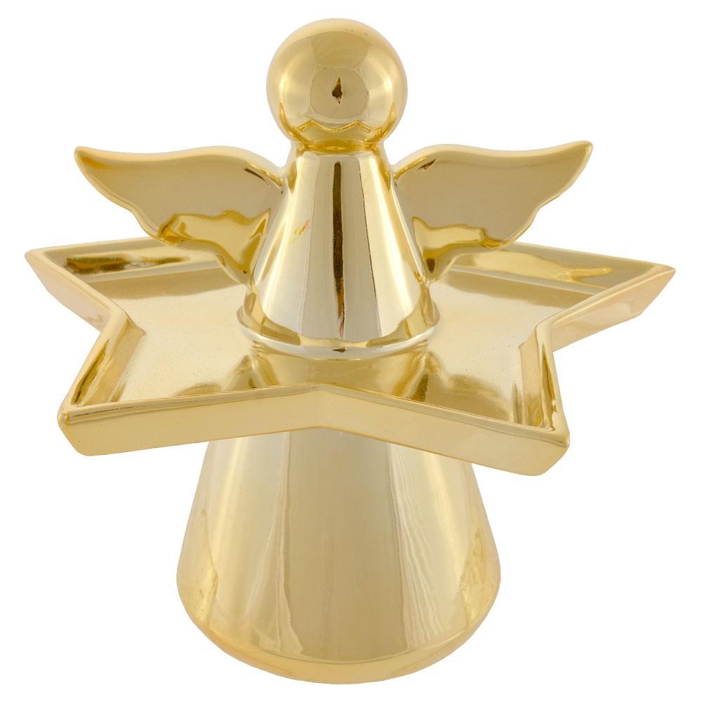 Bandeja Anjo Cerâmica Dourado 19X18,5X17 cm D'Rossi