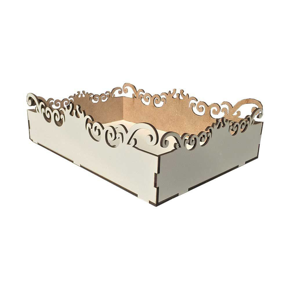 Bandeja Decorativa Arabesco MDF Branco 18x25 - D'Rossi