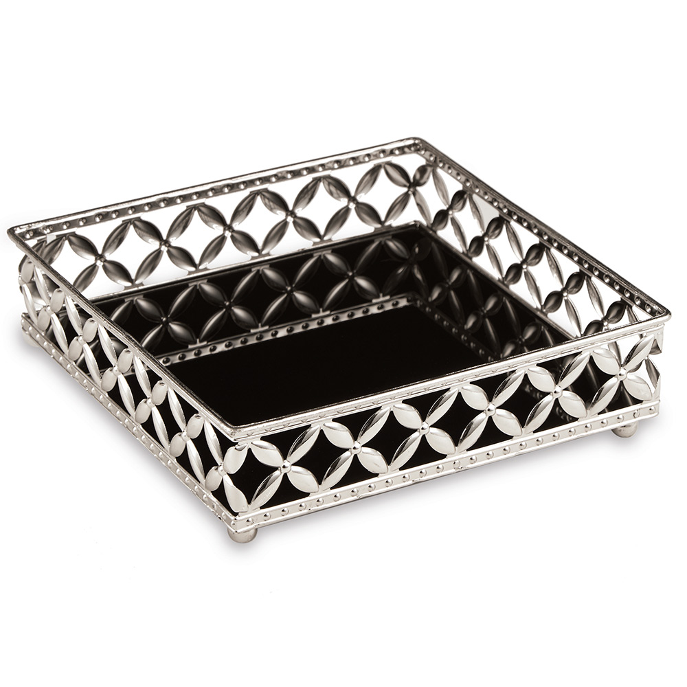 Bandeja Decorativa Quadrada em Metal Prata com Espelho Preto 5x17 cm - D'Rossi
