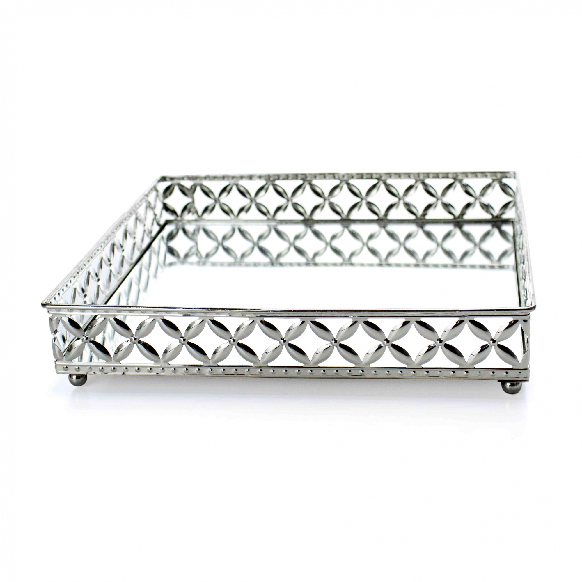 Bandeja Decorativa Quadrada G em Metal Prata com Espelho 5x25 cm - D'Rossi