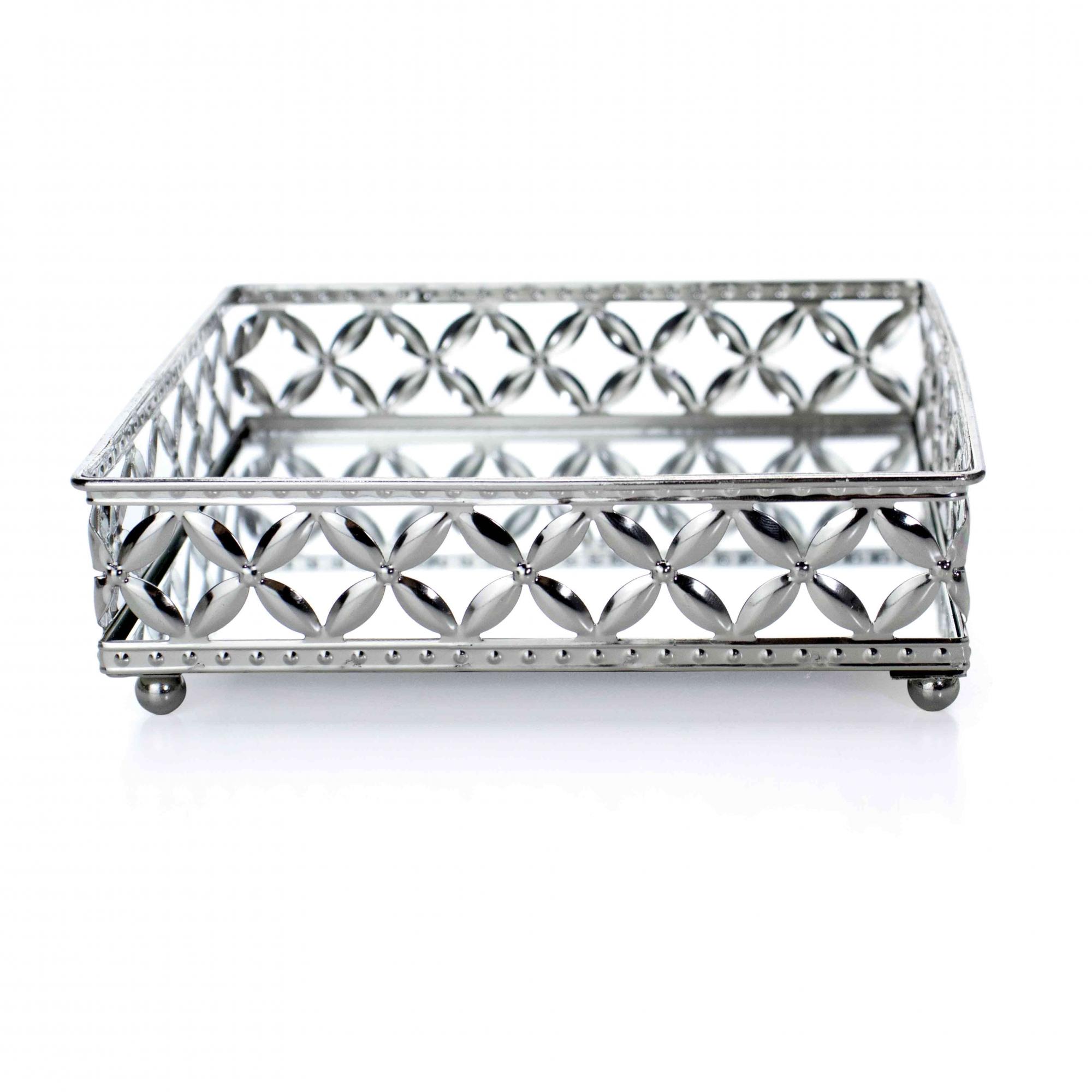 Bandeja Decorativa Quadrada P em Metal Prata com Espelho 5x17,5 cm - D'Rossi