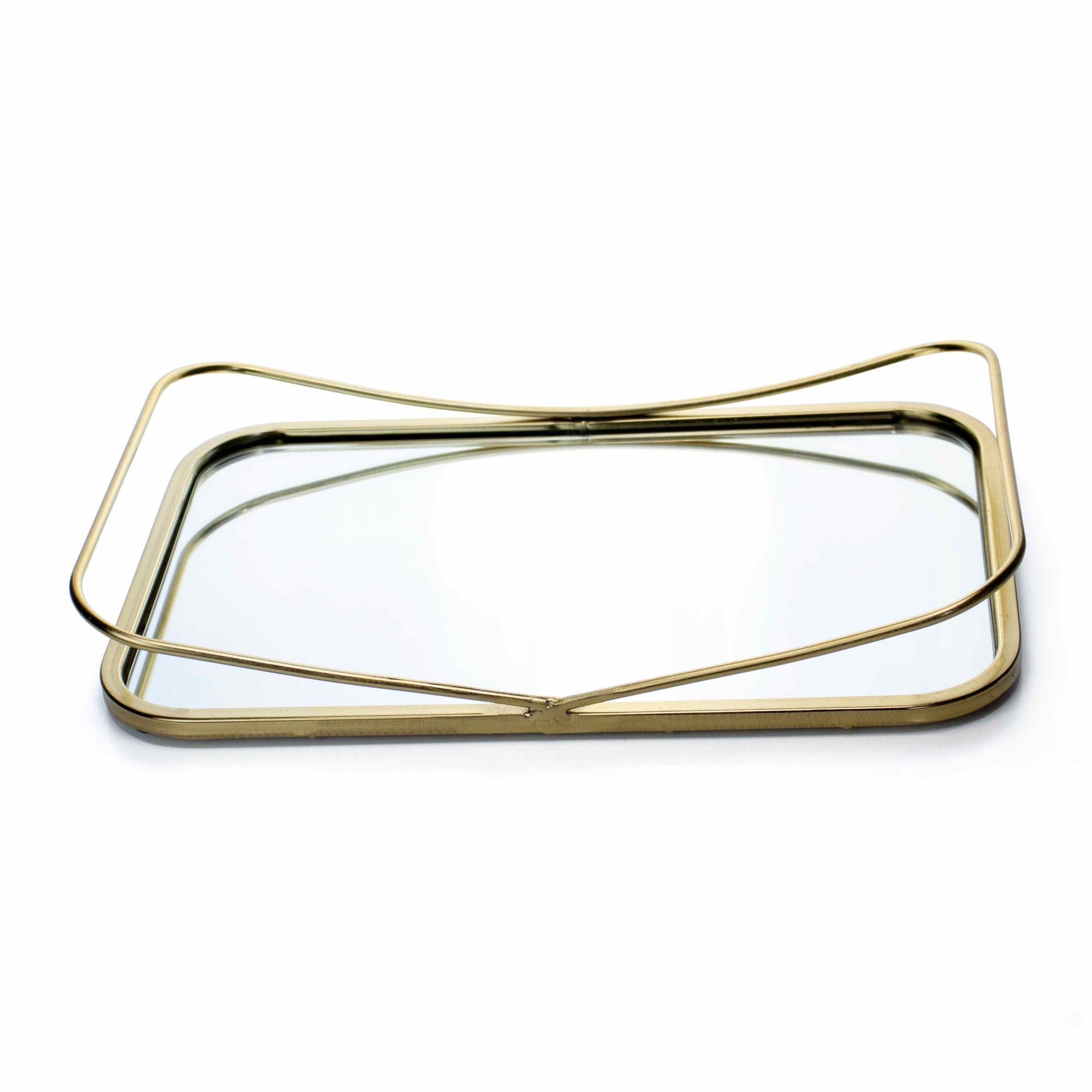 Bandeja Decorativa Retangular P em Metal Dourado com Espelho 5x33 cm - D'Rossi