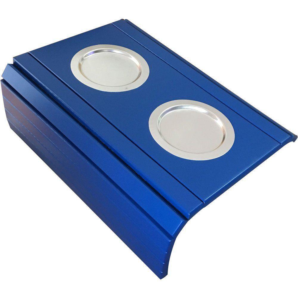 Bandeja Esteira para Braço de Sofá Porta Copo Alumínio Azul - D'Rossi