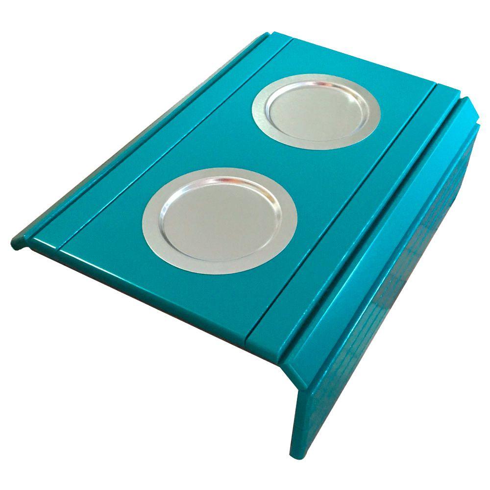 Bandeja Esteira para Braço de Sofá Porta Copo Alumínio Azul Turquesa - D'Rossi