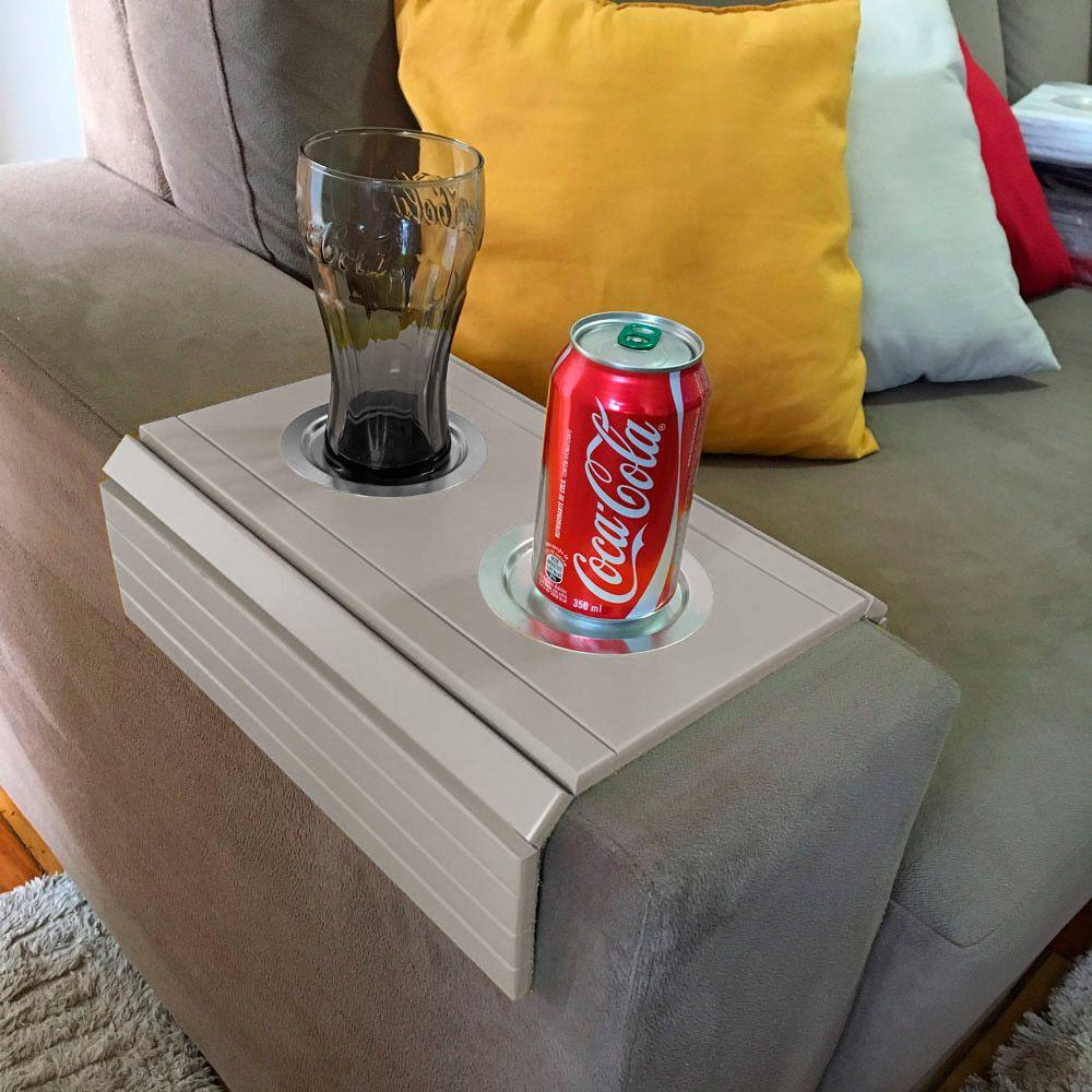 Bandeja Esteira para Braço de Sofá Porta Copo Aluminio - D'Rossi