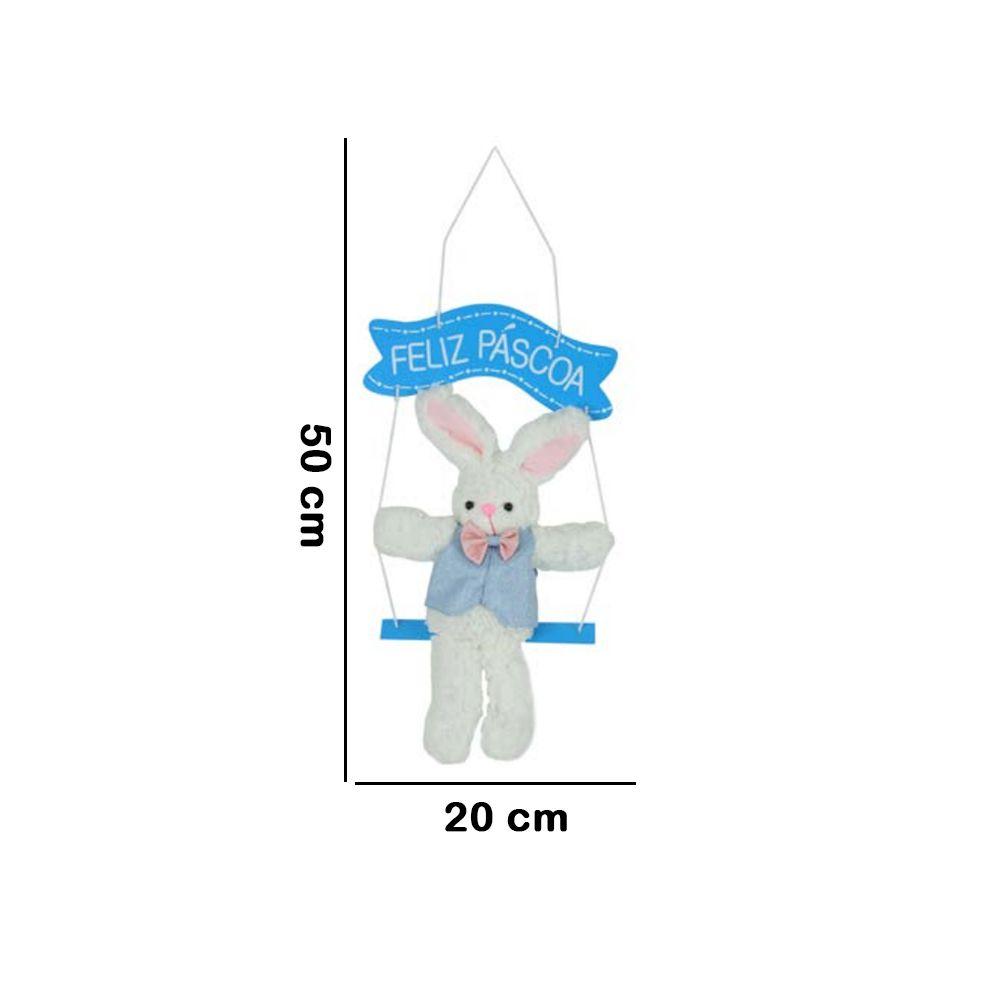 Boneco Coelho Macho Azul e Rosa com Placa e Balanço - D'Rossi