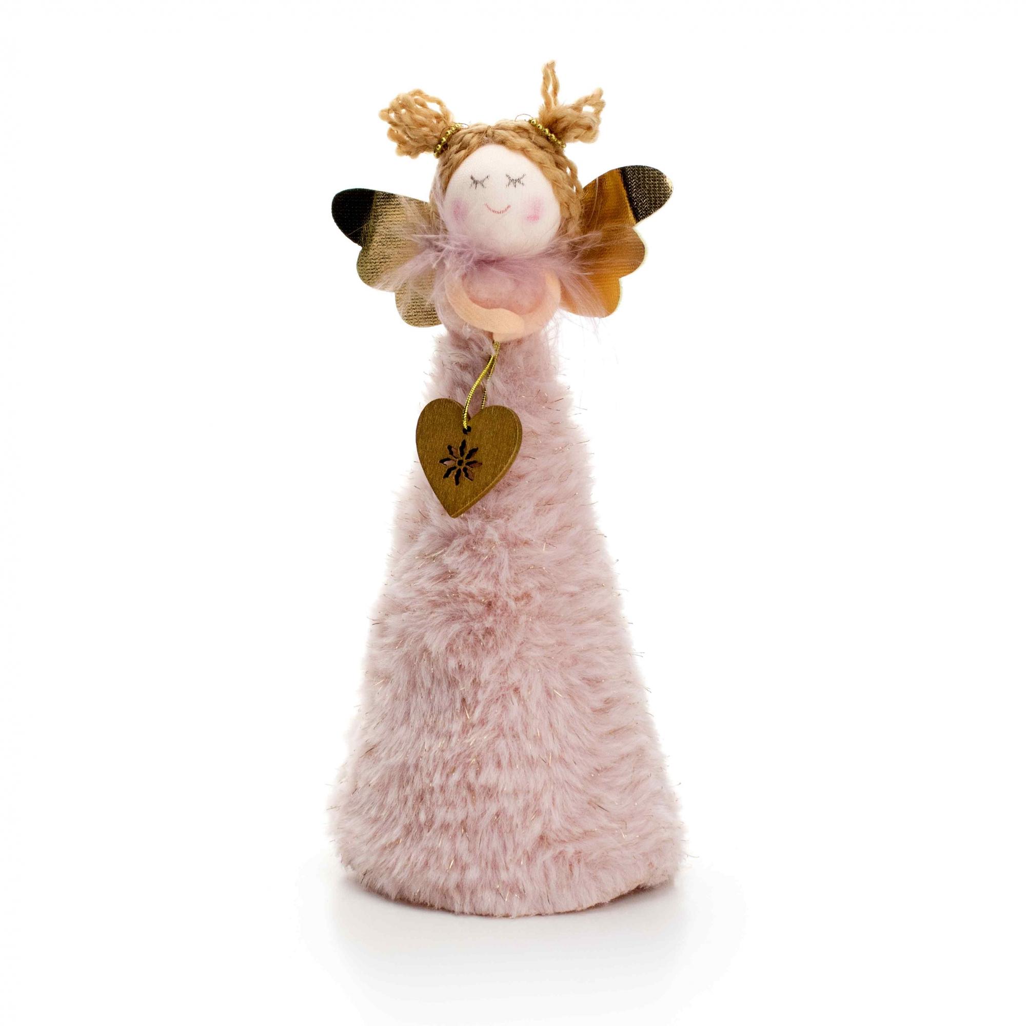 Boneco de Natal Anjo Rosa e Dourado 20 cm - D'Rossi