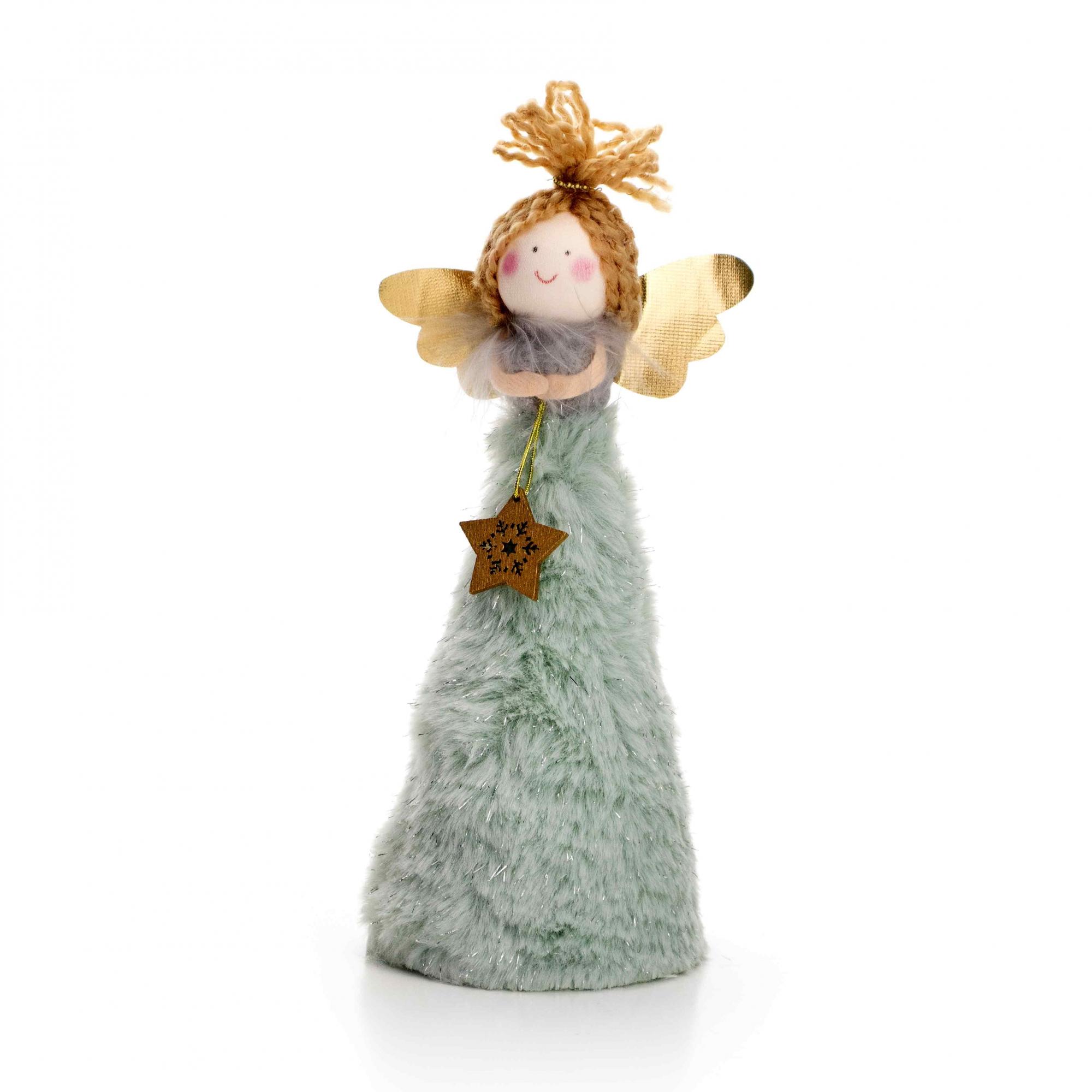 Boneco de Natal Anjo Verde e Dourado 20 cm - D'Rossi