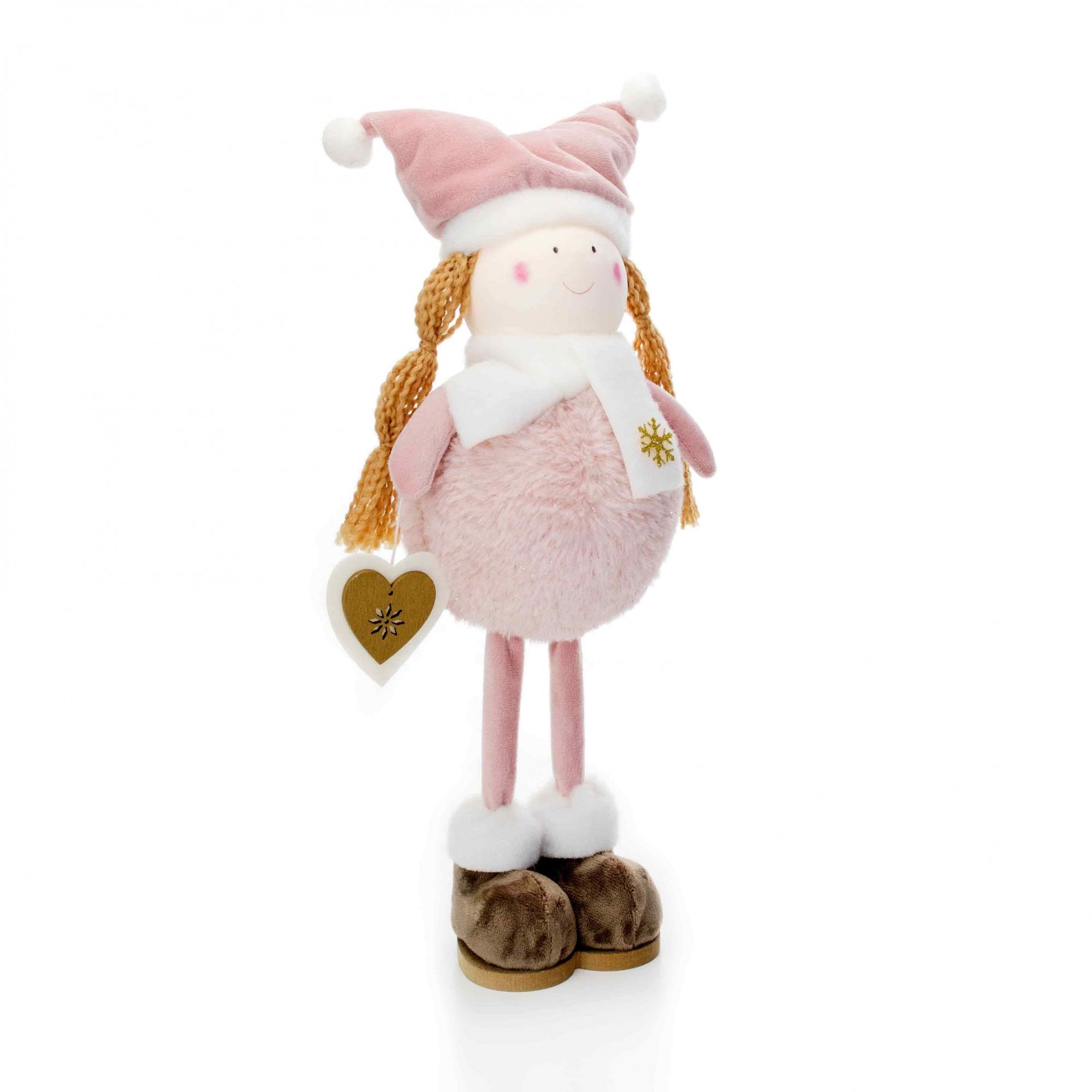Boneco de Natal Menina em Pé Rosa e Branco 40 cm - D'Rossi