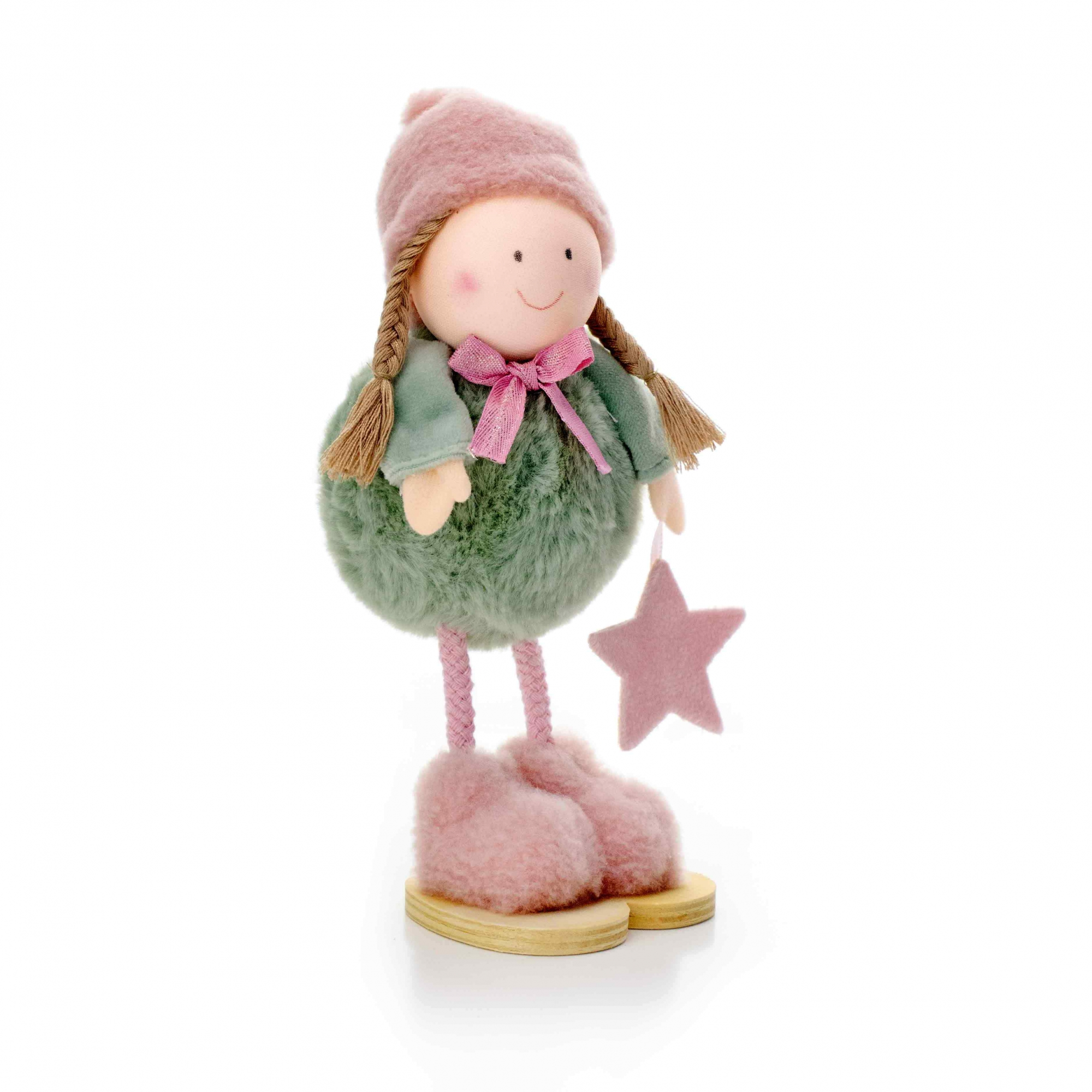 Boneco de Natal Menina em Pé Verde e Rosa 20 cm - D'Rossi