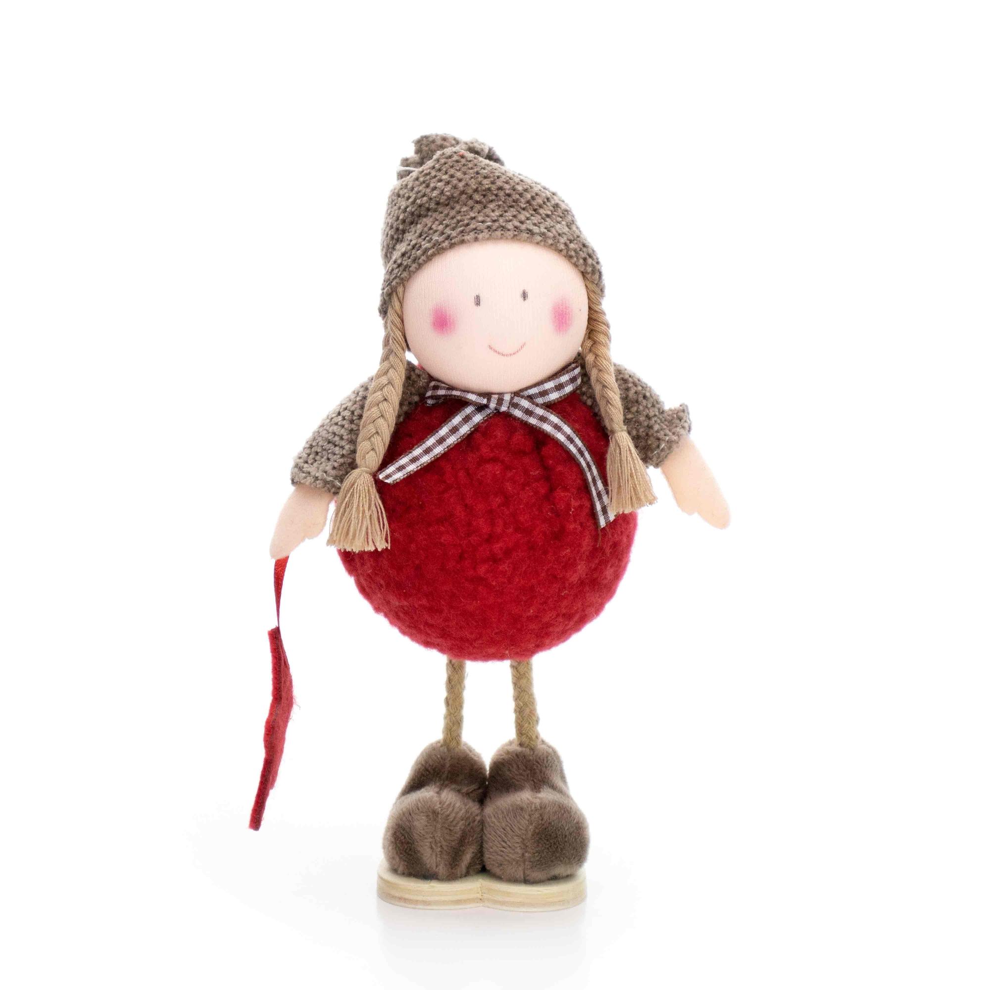 Boneco de Natal Menina em Pé Vermelho e Marrom 20 cm - D'Rossi
