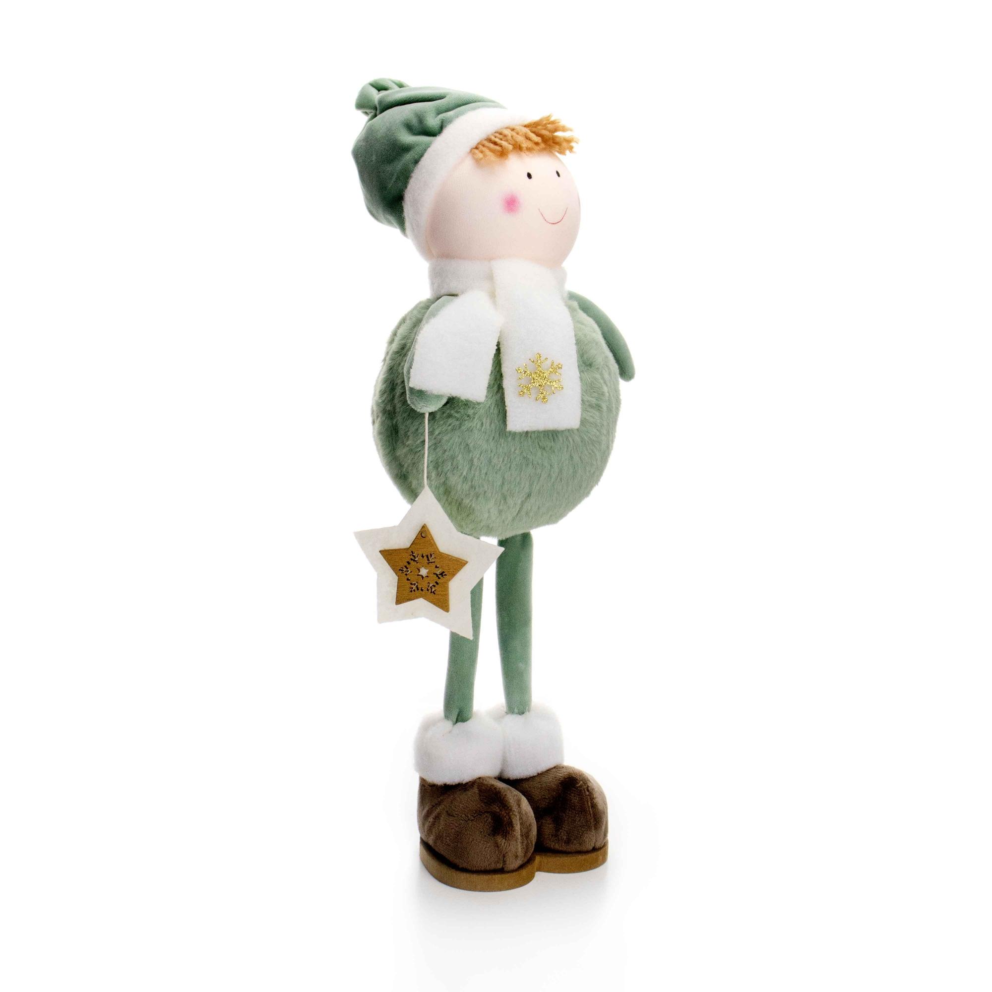 Boneco de Natal Menino em Pé Verde e Branco 40 cm - D'Rossi