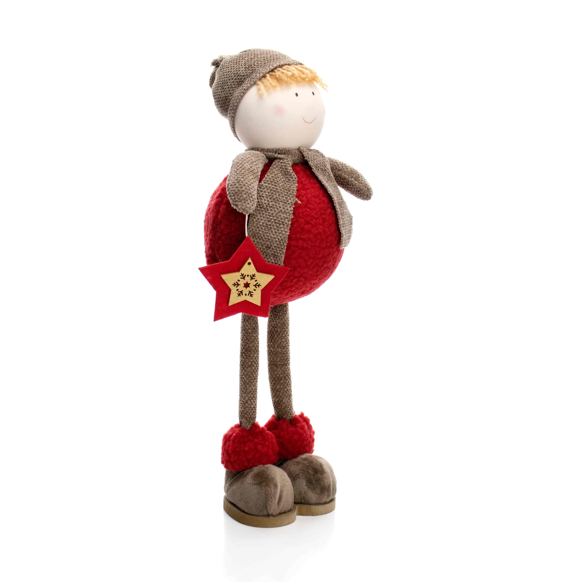 Boneco de Natal Menino em Pé Vermelho e Marrom 40 cm - D'Rossi