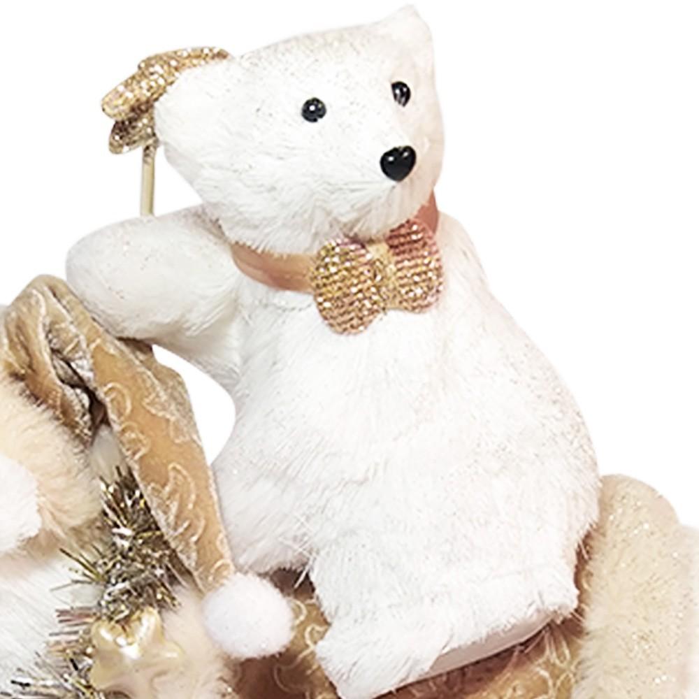 Boneco Natal Família Urso Cor Champanhe D'Rossi