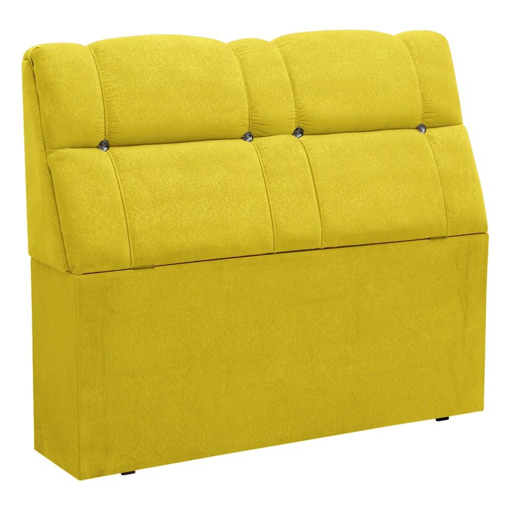Cabeceira com baú Itália Cama Box Casal 140 cm Suede Amarelo D'Rossi